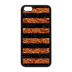 Stripes2 Black Marble & Copper Foil Apple Iphone 5c Seamless Case (black) by trendistuff