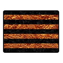 Stripes2 Black Marble & Copper Foil Double Sided Fleece Blanket (small)  by trendistuff