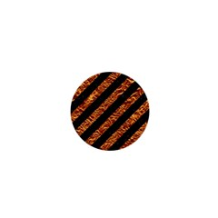 Stripes3 Black Marble & Copper Foil 1  Mini Magnets by trendistuff