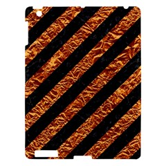 Stripes3 Black Marble & Copper Foil Apple Ipad 3/4 Hardshell Case by trendistuff