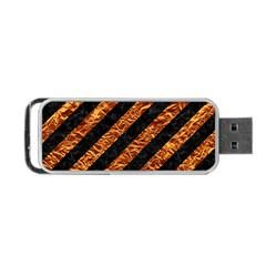 Stripes3 Black Marble & Copper Foil Portable Usb Flash (one Side) by trendistuff