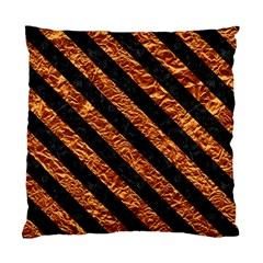 Stripes3 Black Marble & Copper Foil (r) Standard Cushion Case (two Sides) by trendistuff