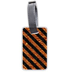 Stripes3 Black Marble & Copper Foil (r) Luggage Tags (one Side)  by trendistuff