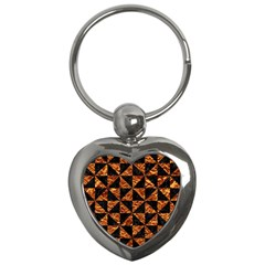 Triangle1 Black Marble & Copper Foil Key Chains (heart)  by trendistuff