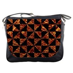 Triangle1 Black Marble & Copper Foil Messenger Bags