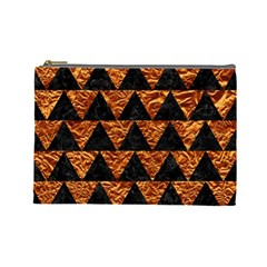 Triangle2 Black Marble & Copper Foil Cosmetic Bag (large)  by trendistuff