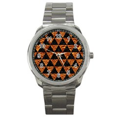 Triangle3 Black Marble & Copper Foil Sport Metal Watch by trendistuff