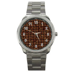 Woven1 Black Marble & Copper Foil Sport Metal Watch by trendistuff