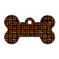 Woven1 Black Marble & Copper Foil Dog Tag Bone (one Side) by trendistuff