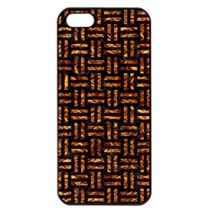 Woven1 Black Marble & Copper Foil Apple Iphone 5 Seamless Case (black) by trendistuff