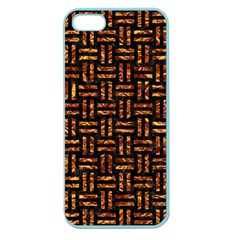 Woven1 Black Marble & Copper Foil Apple Seamless Iphone 5 Case (color) by trendistuff