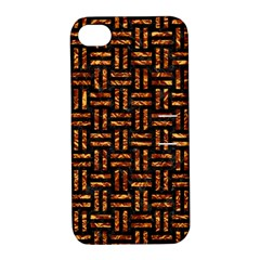 Woven1 Black Marble & Copper Foil Apple Iphone 4/4s Hardshell Case With Stand by trendistuff