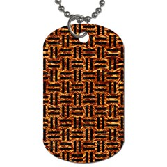 Woven1 Black Marble & Copper Foil (r) Dog Tag (two Sides) by trendistuff