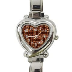 Woven1 Black Marble & Copper Foil (r) Heart Italian Charm Watch by trendistuff