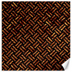 Woven2 Black Marble & Copper Foil Canvas 12  X 12   by trendistuff
