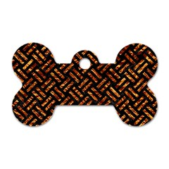 Woven2 Black Marble & Copper Foil Dog Tag Bone (two Sides) by trendistuff