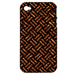Woven2 Black Marble & Copper Foil Apple Iphone 4/4s Hardshell Case (pc+silicone) by trendistuff