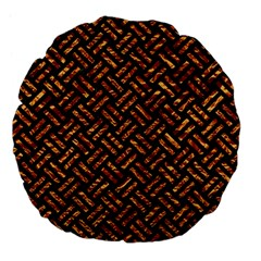 Woven2 Black Marble & Copper Foil Large 18  Premium Flano Round Cushions by trendistuff