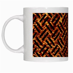 Woven2 Black Marble & Copper Foil (r) White Mugs by trendistuff