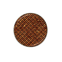 Woven2 Black Marble & Copper Foil (r) Hat Clip Ball Marker by trendistuff