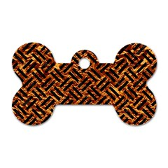 Woven2 Black Marble & Copper Foil (r) Dog Tag Bone (two Sides) by trendistuff