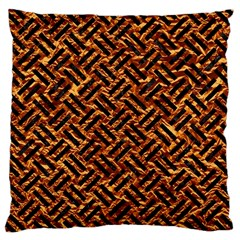 Woven2 Black Marble & Copper Foil (r) Large Cushion Case (one Side) by trendistuff