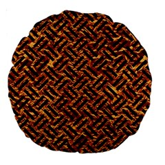 Woven2 Black Marble & Copper Foil (r) Large 18  Premium Round Cushions by trendistuff