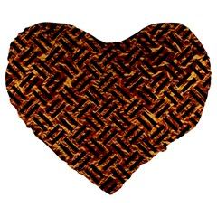 Woven2 Black Marble & Copper Foil (r) Large 19  Premium Flano Heart Shape Cushions by trendistuff