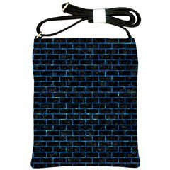 Brick1 Black Marble & Deep Blue Water Shoulder Sling Bags by trendistuff