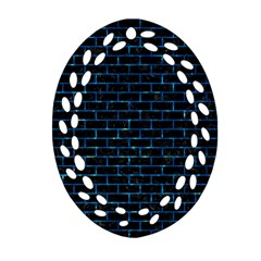 Brick1 Black Marble & Deep Blue Water Ornament (oval Filigree) by trendistuff