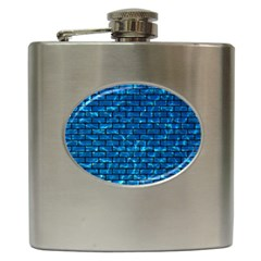 Brick1 Black Marble & Deep Blue Water (r) Hip Flask (6 Oz) by trendistuff