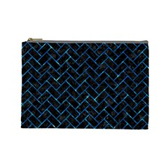 Brick2 Black Marble & Deep Blue Water Cosmetic Bag (large)  by trendistuff