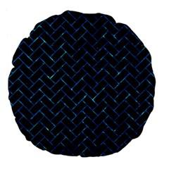 Brick2 Black Marble & Deep Blue Water Large 18  Premium Flano Round Cushions by trendistuff