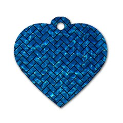 Brick2 Black Marble & Deep Blue Water (r) Dog Tag Heart (two Sides) by trendistuff
