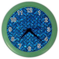 Brick2 Black Marble & Deep Blue Water (r) Color Wall Clocks by trendistuff