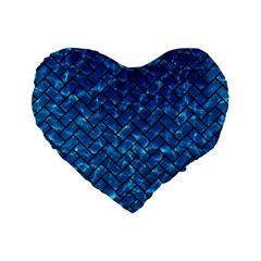 Brick2 Black Marble & Deep Blue Water (r) Standard 16  Premium Flano Heart Shape Cushions by trendistuff