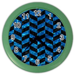 Chevron1 Black Marble & Deep Blue Water Color Wall Clocks by trendistuff