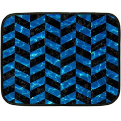 Chevron1 Black Marble & Deep Blue Water Fleece Blanket (mini) by trendistuff