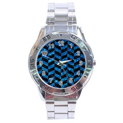 Chevron1 Black Marble & Deep Blue Water Stainless Steel Analogue Watch by trendistuff