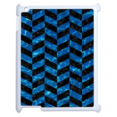 Chevron1 Black Marble & Deep Blue Water Apple Ipad 2 Case (white) by trendistuff
