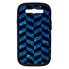 Chevron1 Black Marble & Deep Blue Water Samsung Galaxy S Iii Hardshell Case (pc+silicone) by trendistuff