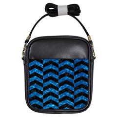Chevron2 Black Marble & Deep Blue Water Girls Sling Bags by trendistuff