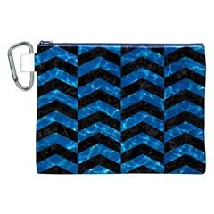 Chevron2 Black Marble & Deep Blue Water Canvas Cosmetic Bag (xxl) by trendistuff