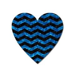 Chevron3 Black Marble & Deep Blue Water Heart Magnet by trendistuff