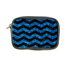 Chevron3 Black Marble & Deep Blue Water Coin Purse by trendistuff