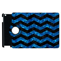 Chevron3 Black Marble & Deep Blue Water Apple Ipad 2 Flip 360 Case by trendistuff