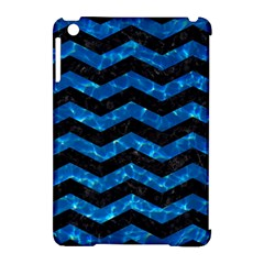 Chevron3 Black Marble & Deep Blue Water Apple Ipad Mini Hardshell Case (compatible With Smart Cover) by trendistuff