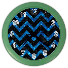 Chevron9 Black Marble & Deep Blue Water Color Wall Clocks