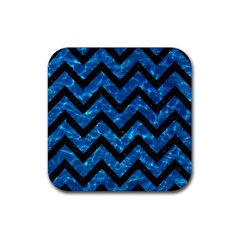 Chevron9 Black Marble & Deep Blue Water (r) Rubber Square Coaster (4 Pack)  by trendistuff