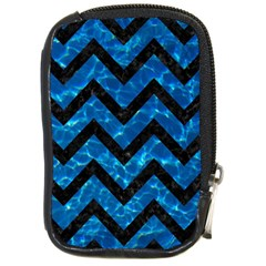 Chevron9 Black Marble & Deep Blue Water (r) Compact Camera Cases